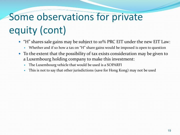 Some observations for private equity (cont)