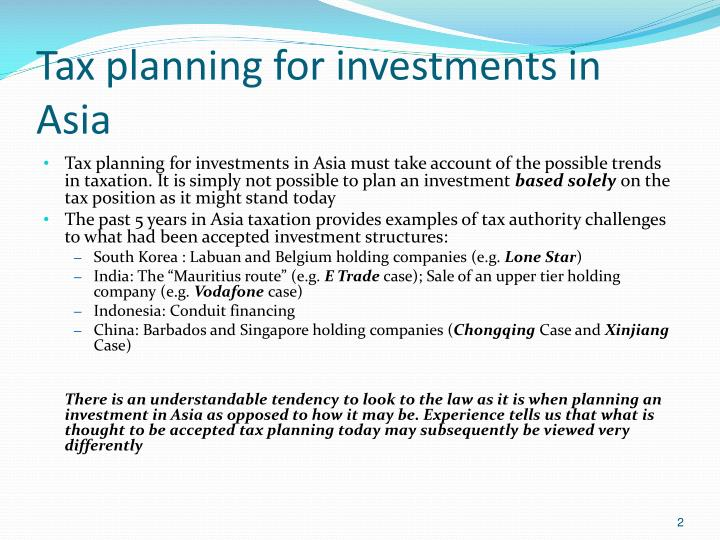 Tax planning for investments in asia