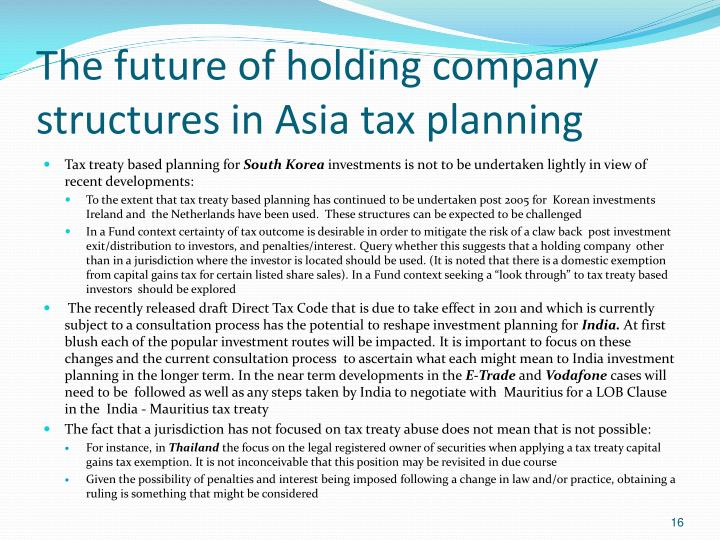 The future of holding company structures in Asia tax planning
