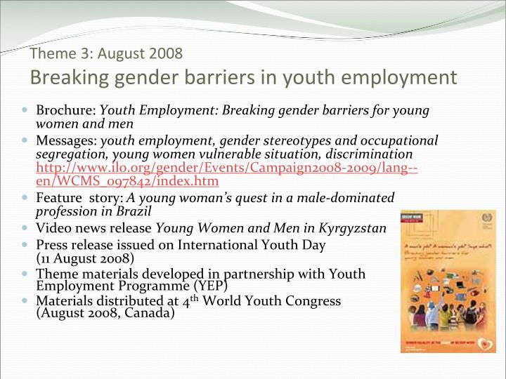 barriers on gender Amazoncom: women and workplace discrimination: overcoming barriers to gender equality (9780813531373): raymond f gregory: books.