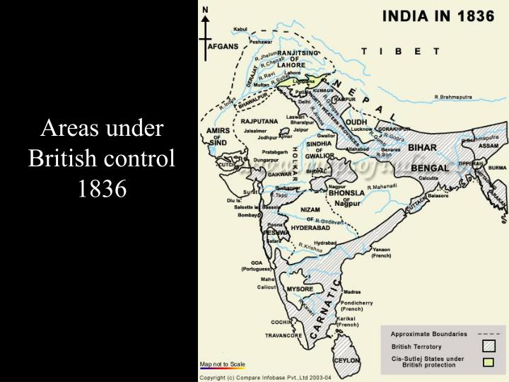 Areas under British control 1836