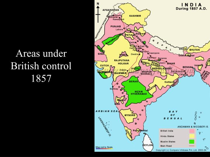 Areas under British control 1857