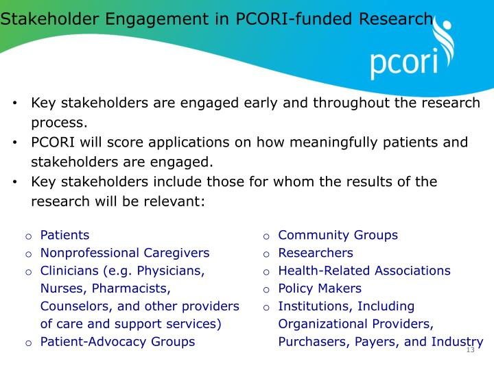 Stakeholder Engagement in PCORI-funded Research