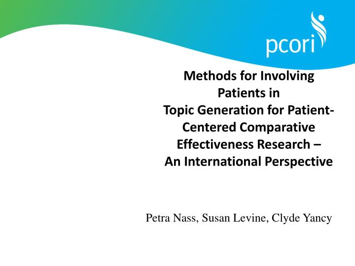 Methods for Involving Patients in