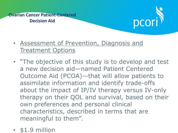Ovarian Cancer Patient-Centered Decision Aid