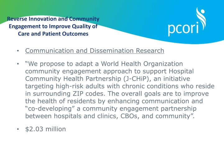Reverse Innovation and Community Engagement to Improve Quality of Care and Patient Outcomes