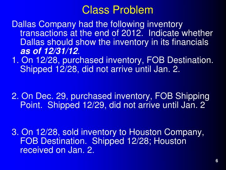 Dallas Company had the following inventory transactions at the end of 2012.  Indicate whether Dallas should show the inventory in its financials