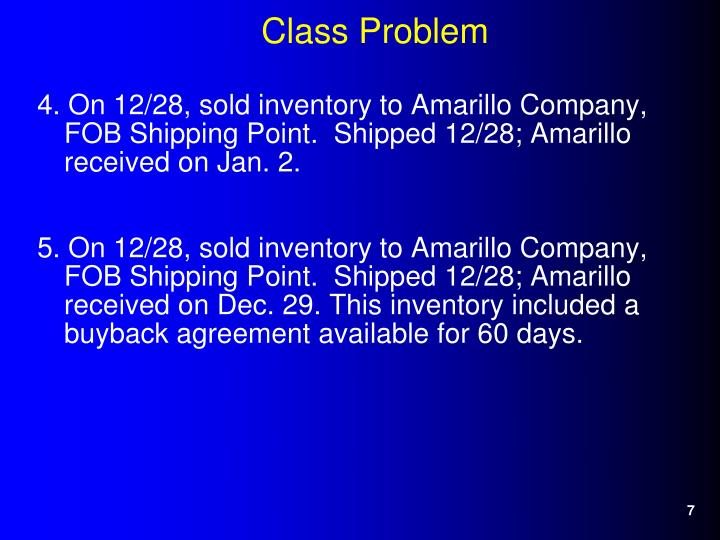 4. On 12/28, sold inventory to Amarillo Company, FOB Shipping Point.  Shipped 12/28; Amarillo received on Jan. 2.