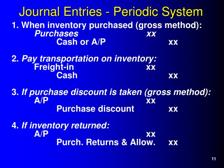 1. When inventory purchased (gross method):