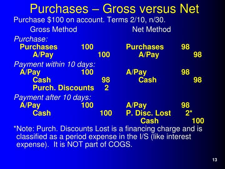 Purchases – Gross versus Net