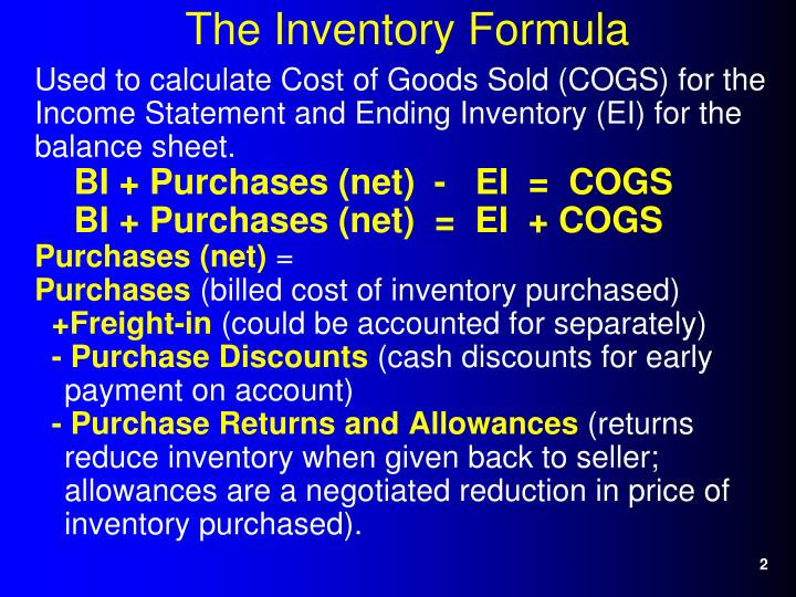Used to calculate Cost of Goods Sold (COGS) for the Income Statement and Ending Inventory (EI) for the balance sheet.