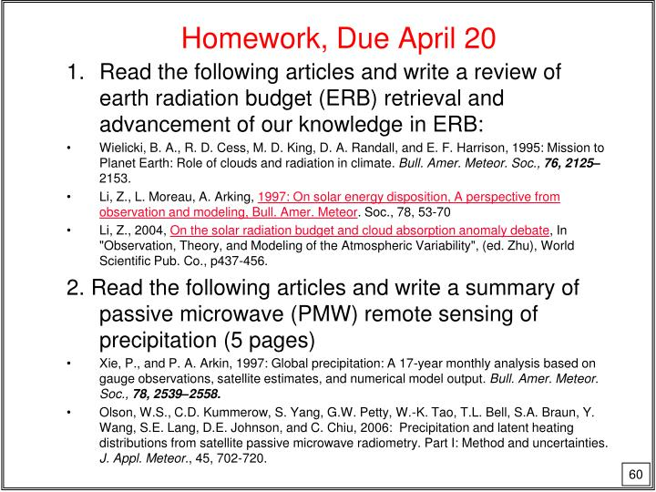 Homework, Due April 20