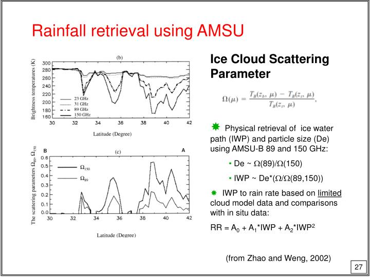 Rainfall retrieval using AMSU
