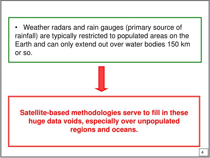 Weather radars and rain gauges (primary source of rainfall) are typically restricted to populated areas on the Earth and can only extend out over water bodies 150 km or so.
