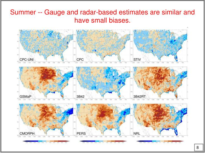 Summer -- Gauge and radar-based estimates are similar and have small biases.