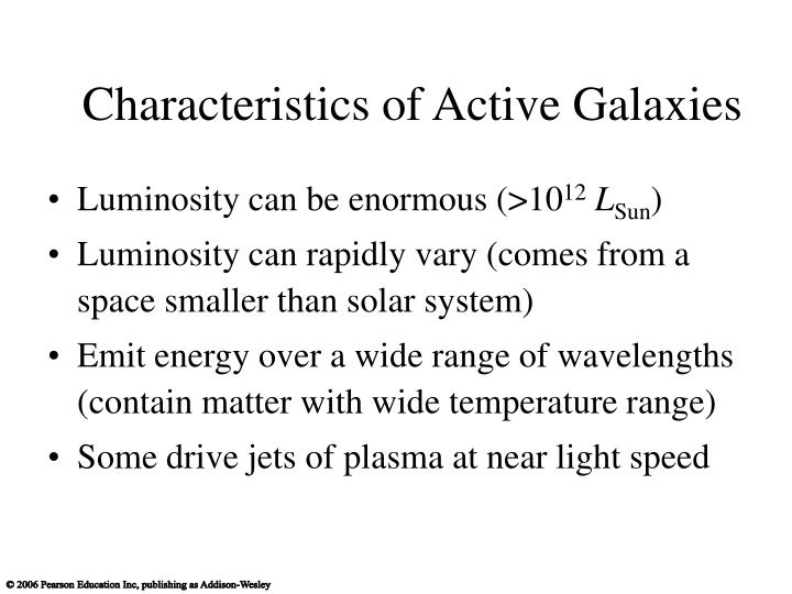 Characteristics of Active Galaxies