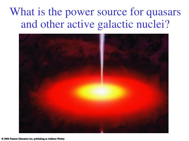 What is the power source for quasars and other active galactic nuclei?