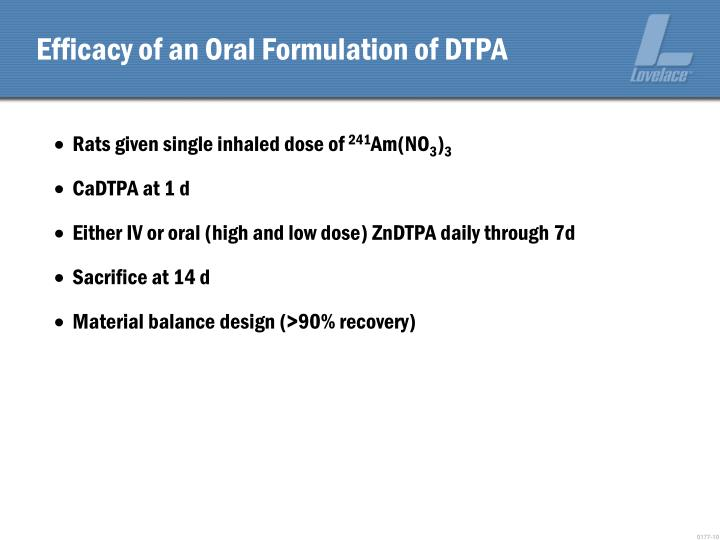 Efficacy of an Oral Formulation of DTPA