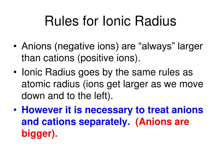 Rules for Ionic Radius