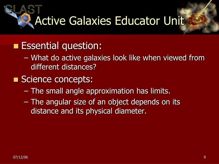Active Galaxies Educator Unit