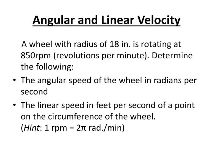 how to find angular velocity in radians per minute