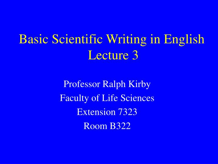Basic Scientific Writing in English