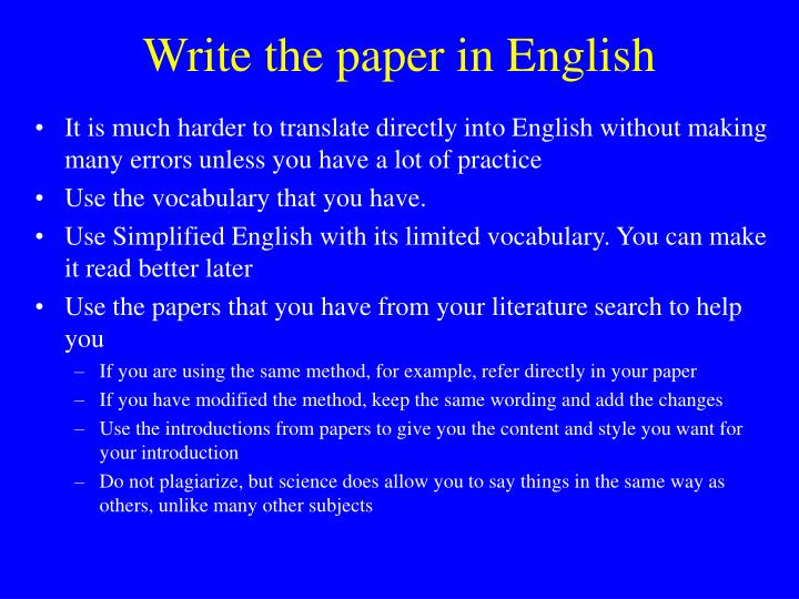 Write the paper in english