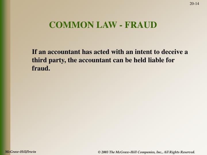 COMMON LAW - FRAUD