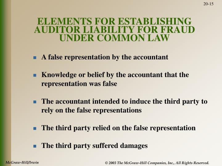 ELEMENTS FOR ESTABLISHING AUDITOR LIABILITY FOR FRAUD UNDER COMMON LAW