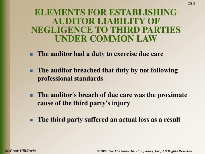 ELEMENTS FOR ESTABLISHING AUDITOR LIABILITY OF NEGLIGENCE TO THIRD PARTIES UNDER COMMON LAW