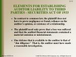 elements for establishing auditor liability to third parties securities act of 1933