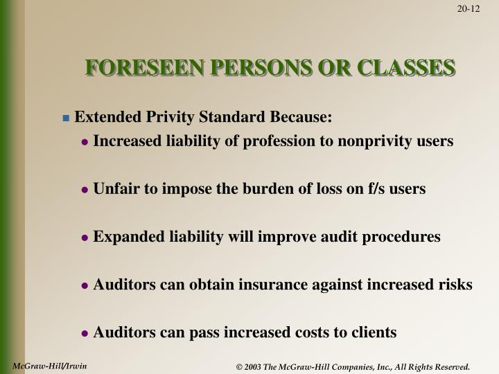 FORESEEN PERSONS OR CLASSES