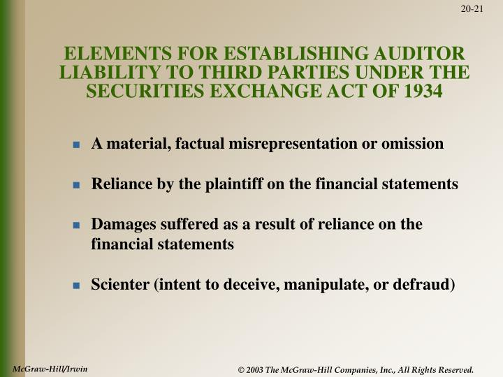 ELEMENTS FOR ESTABLISHING AUDITOR LIABILITY TO THIRD PARTIES UNDER THE SECURITIES EXCHANGE ACT OF 1934