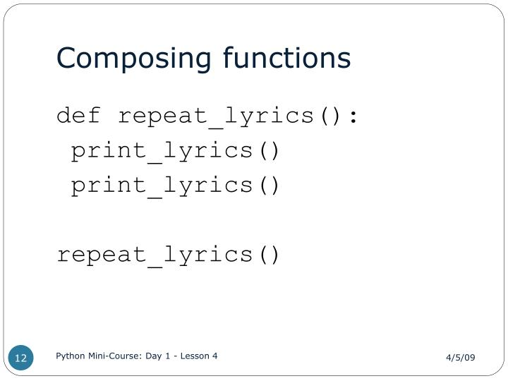 Composing functions