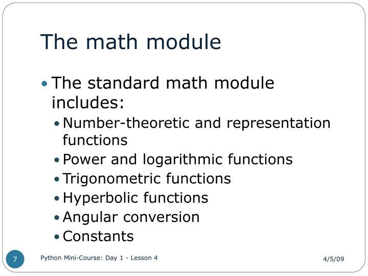 The math module
