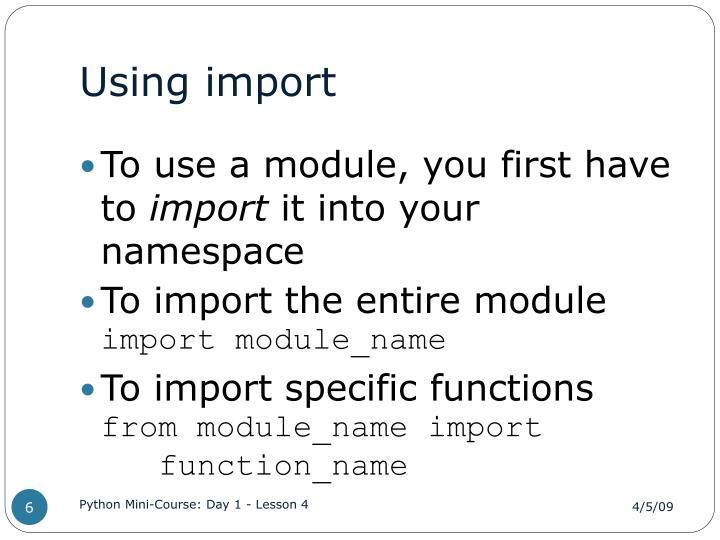 Using import