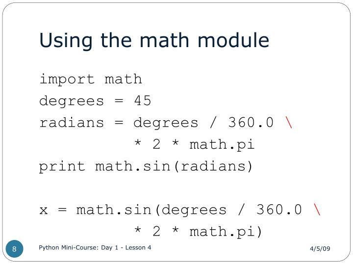 Using the math module