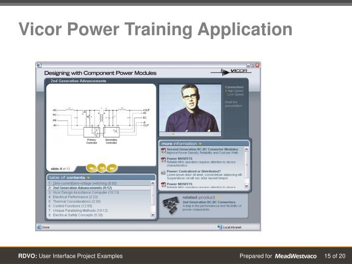 Vicor Power Training Application