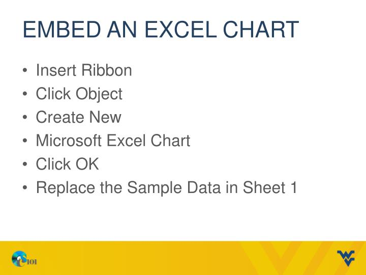 Embed an Excel chart