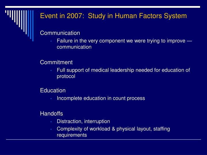 Event in 2007:  Study in Human Factors System