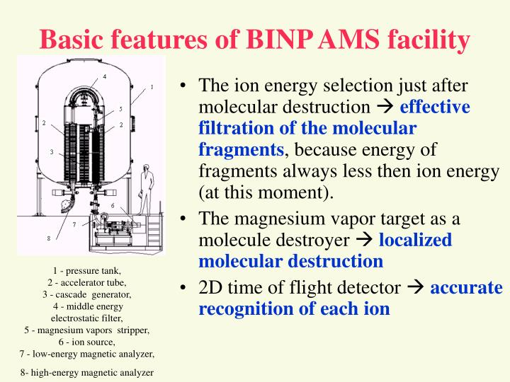 Basic features of BINP AMS facility
