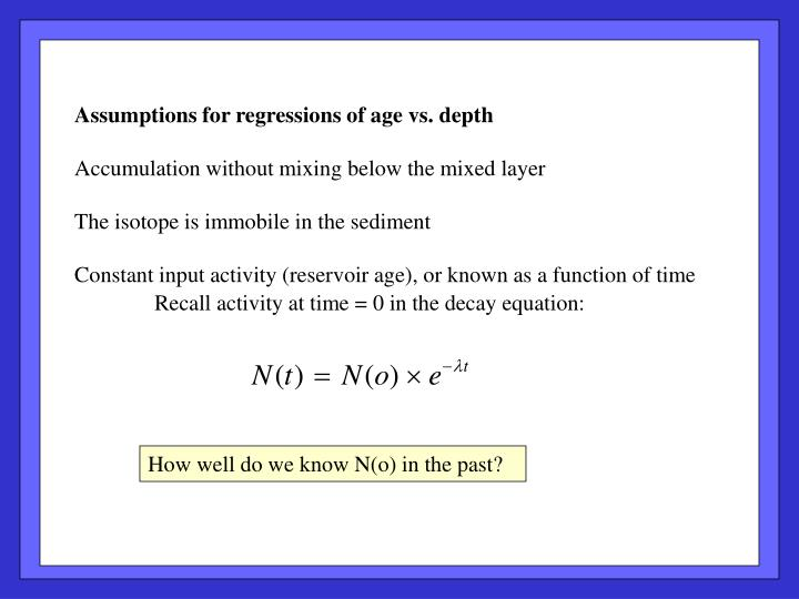 Assumptions for regressions of age vs. depth