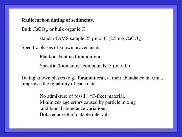 Radiocarbon dating of sediments.