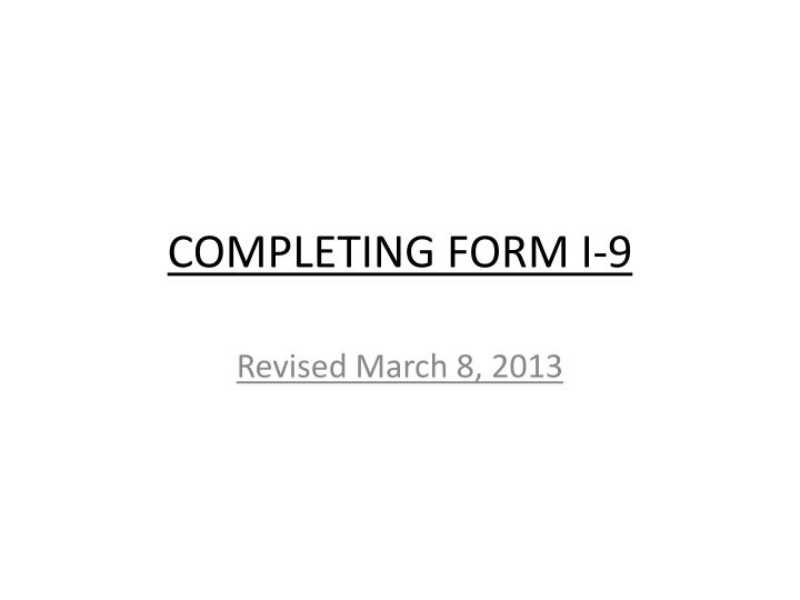 Completing form i 9