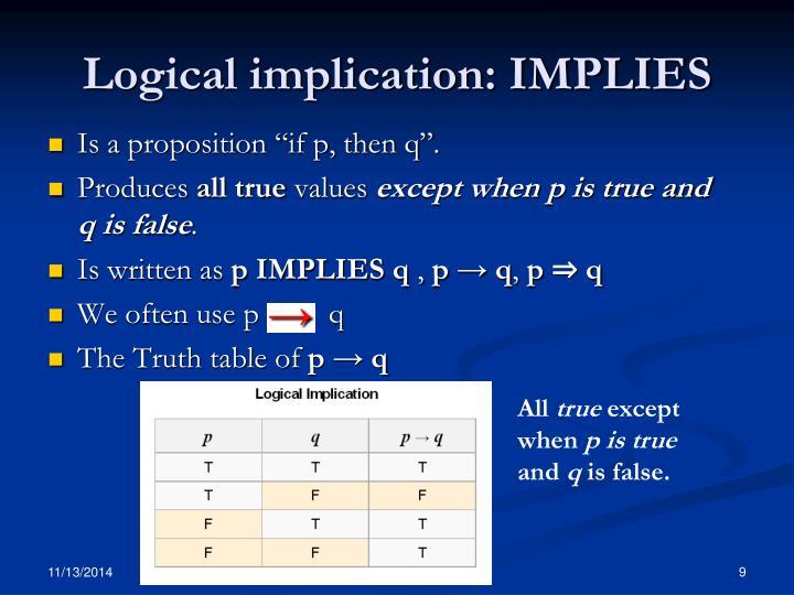 Logical implication: IMPLIES