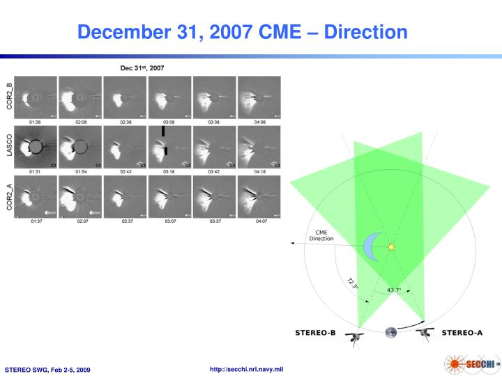 December 31, 2007 CME – Direction