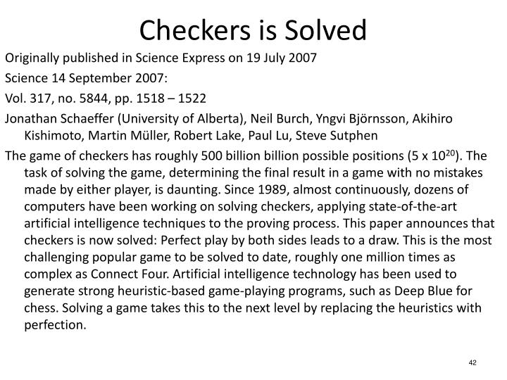 Checkers is Solved