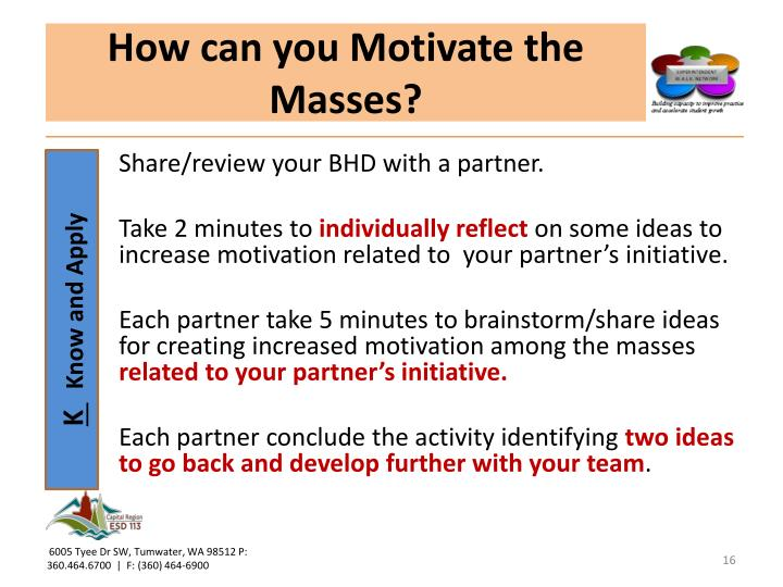How can you Motivate the Masses?