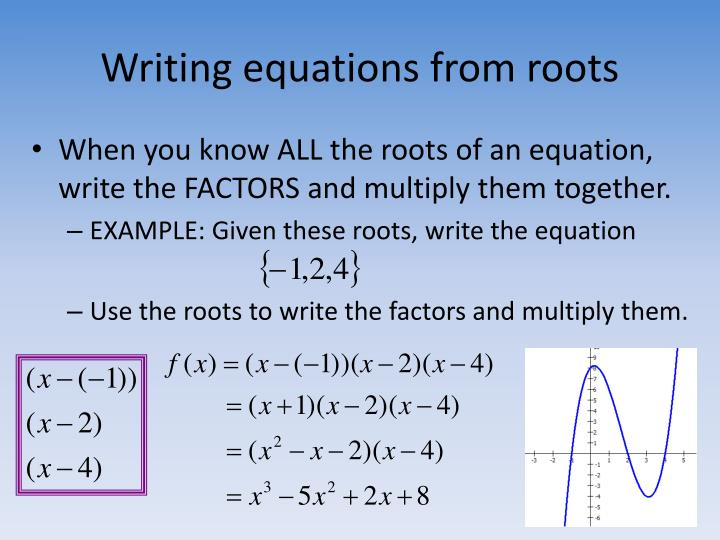 Writing equations from roots
