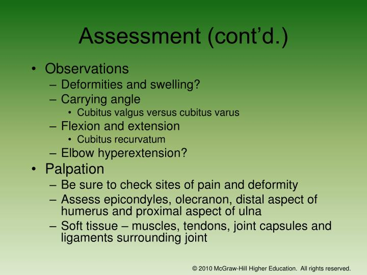 Assessment (cont'd.)